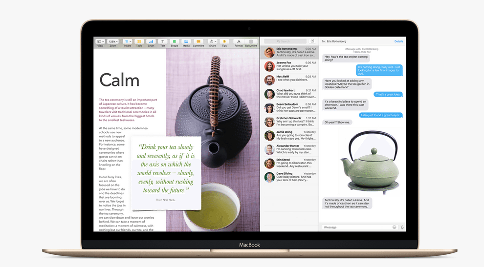Split-screen view in El Capitan. Photo: Apple.
