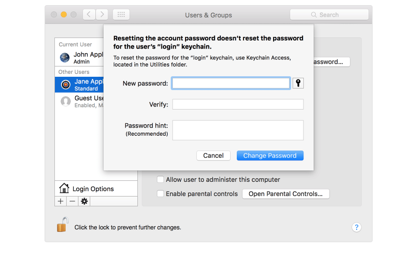 mac password - admin