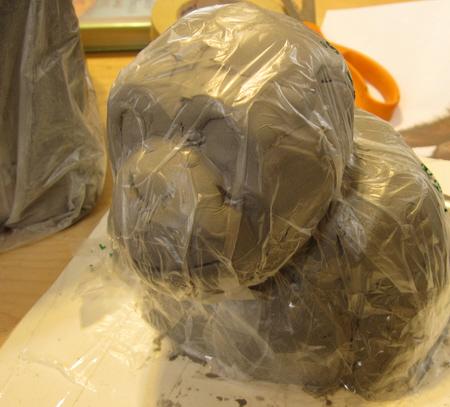 Paper Mache Clay Chimp Bust, Step 2