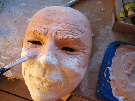 Adding Gesso to Joker Mask