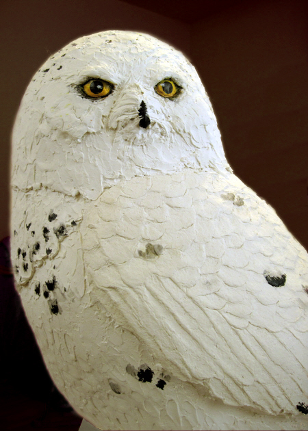Snowy Owl, Made with Paper Mache Clay