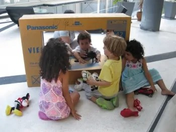 A TV Box Used as a Puppet Theater