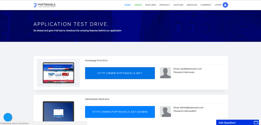 php travel website to practice automation testing