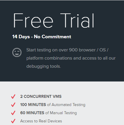 Sauce labs free trial options