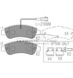 citroen relay fiat ducato peugeot boxer brake pads rear  [ 1600 x 1600 Pixel ]