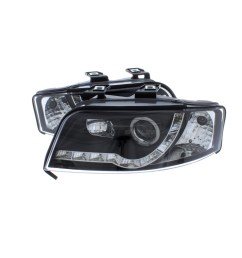 360 audi a6 2001 2005 black drl led devil eye r8 head light lamp pair left  [ 1600 x 1600 Pixel ]