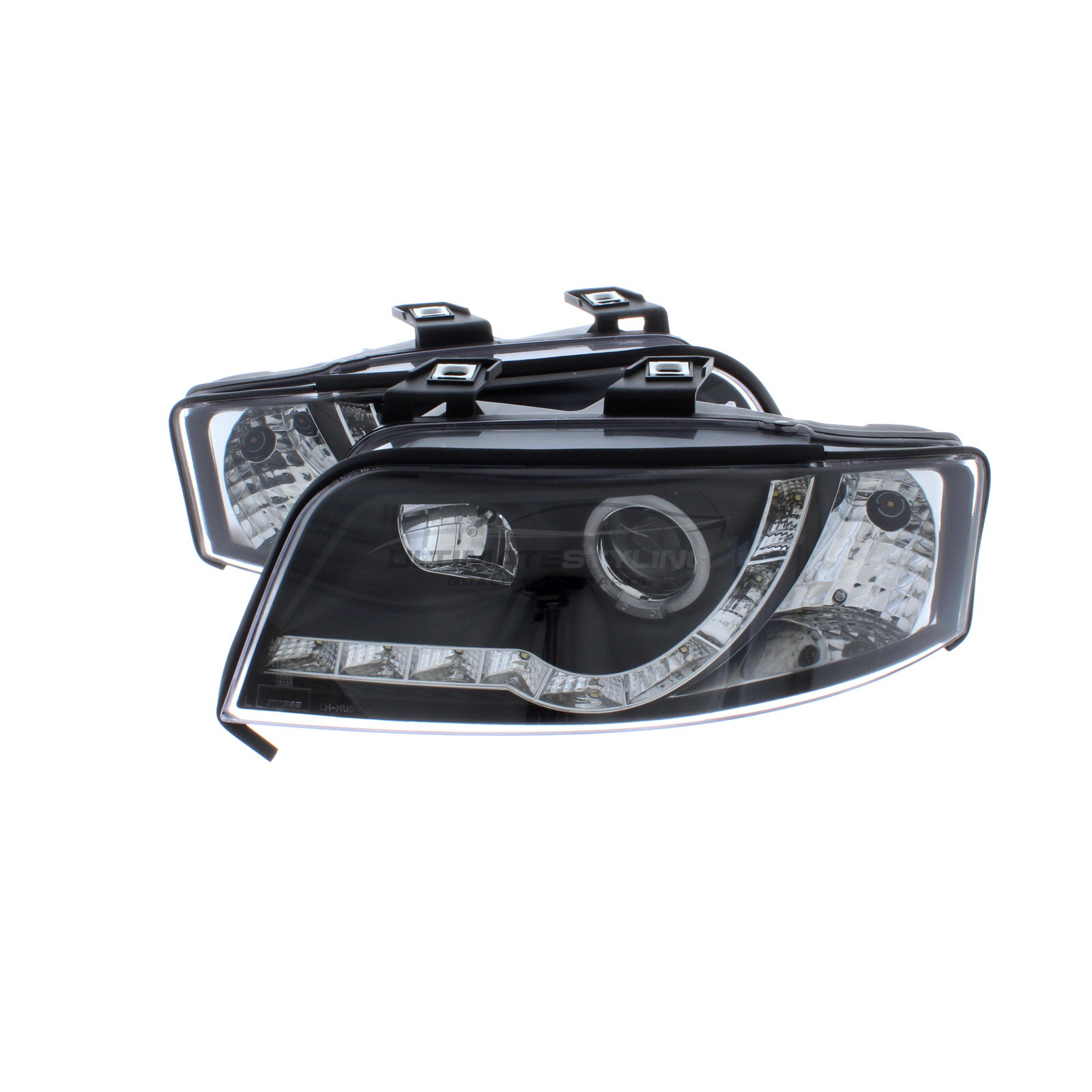 hight resolution of 360 audi a6 2001 2005 black drl led devil eye r8 head light lamp pair left