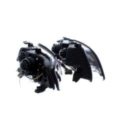 audi a6 2001 2005 black drl led devil eye r8 head light lamp pair left  [ 1600 x 1600 Pixel ]