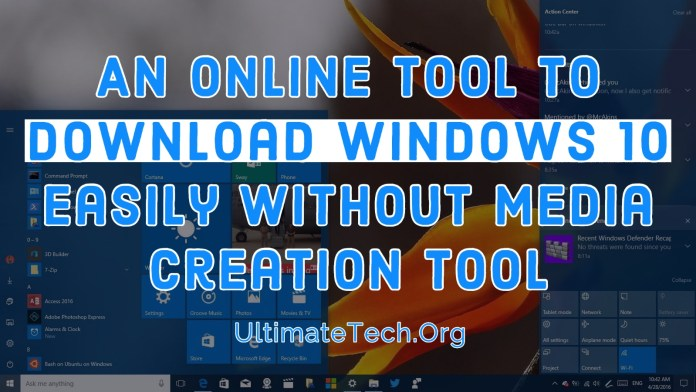 An Online Tool to Direct Download Windows 10