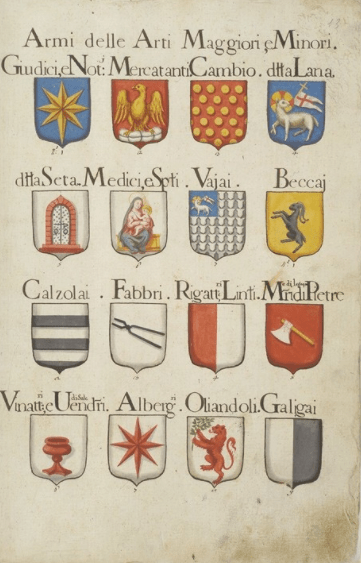 Medieval coats of arms.