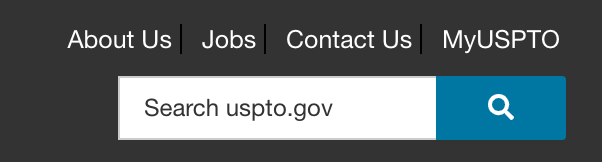 USPTO home page header links.