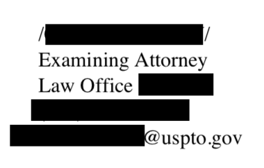 Example USPTO trademark office action examiner signature.