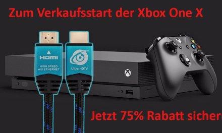 Xbox One X: zum Verkaufsstart 75% Rabatt auf unser 4K-HDMI-Kabel sichern!