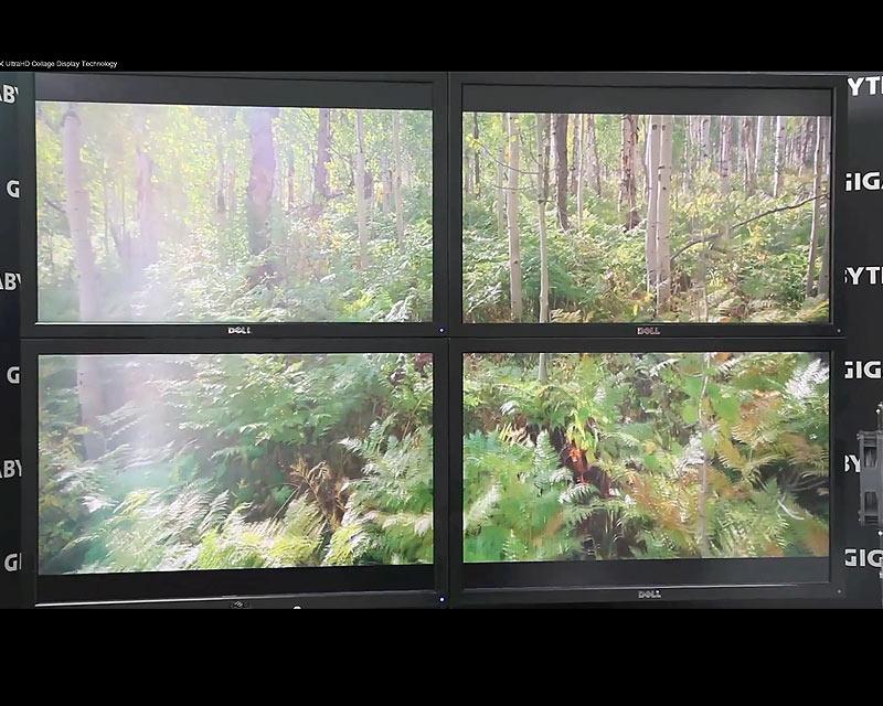 Collage von Gigabyte zeigt Ultra-HD auf vier HD-Monitoren