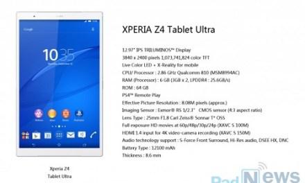 Sony Z4 Tablet Ultra: 13 Zoll großes 4K-Tablet geplant