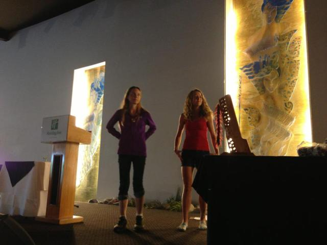 Ruby and Beth on the podium