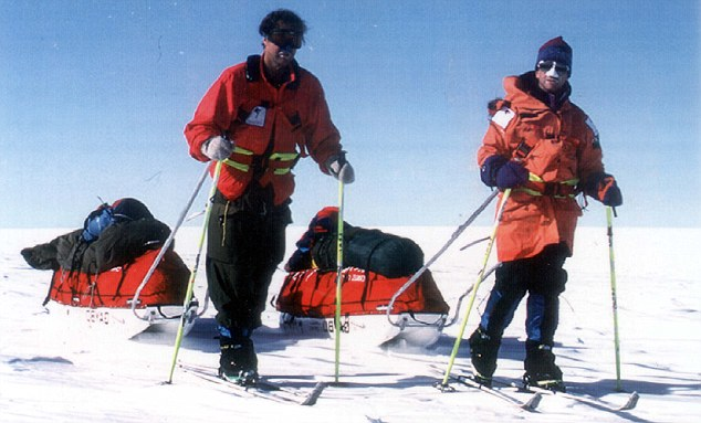 Sir Ranulph Fiennes (left) and Dr Michael Stroud at Gould Bay, on the Filchner Ice Shelf, at the start of their attempt to make the first crossing of Antartica on foot, and the longest-ever unsupported Polar journey.