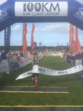 Kellie Emmerson celebrates a new course record at the Surf Coast Century