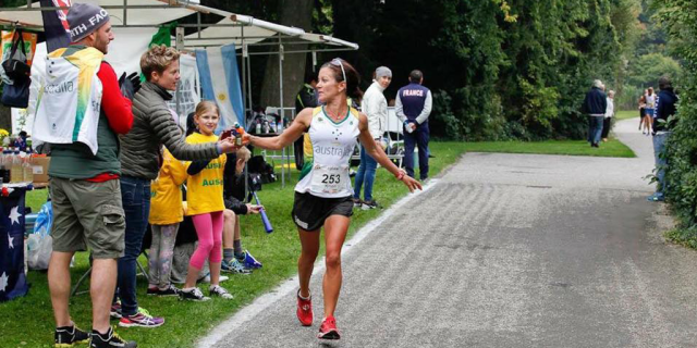 Kirstin breaking the 100km Aussie record at the IAU World champs last year