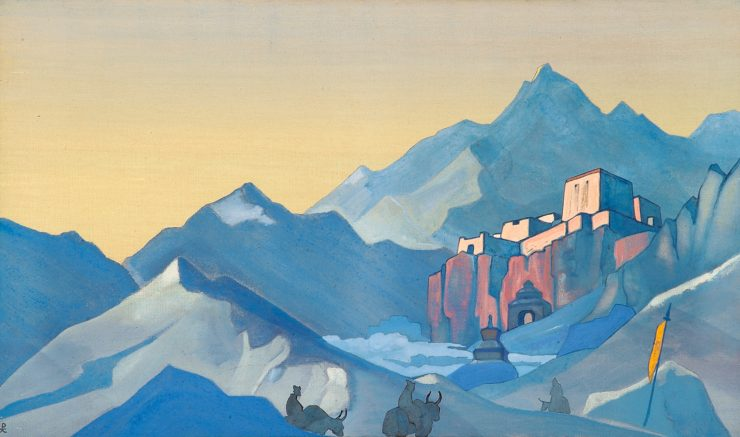 Path to Kailas Monastery by Nicholas Roerich. Image via Wikiart.org.