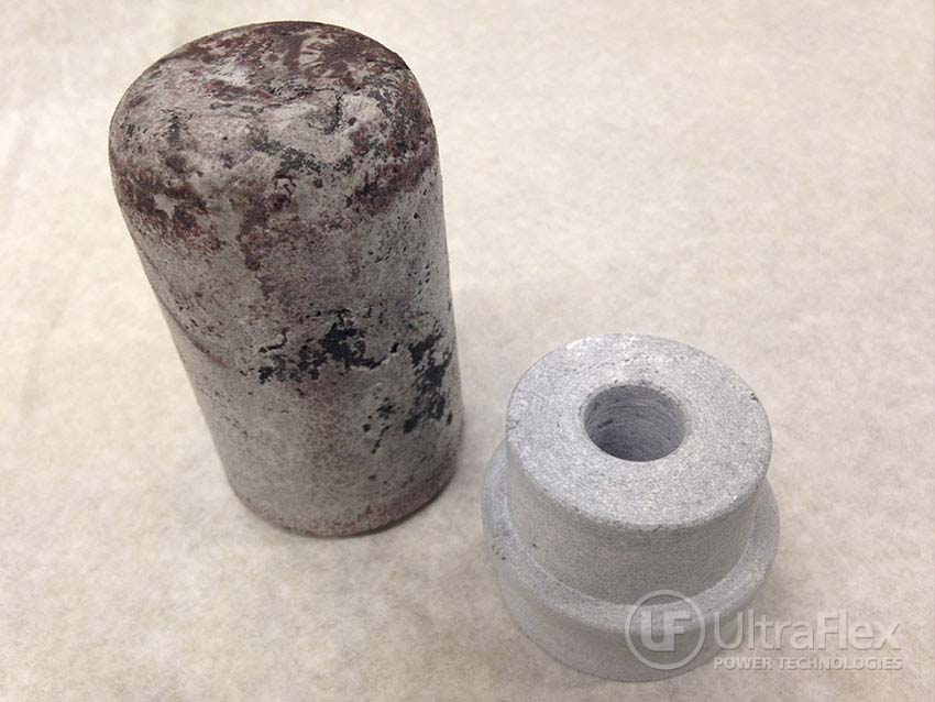 Test 2 – casted ceramic compound before and after machining processing