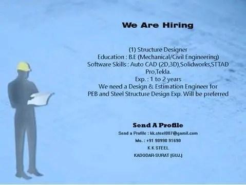 K K Steel Hiring |Jobs For BE/B.Tech Structural, Mechanical, Civil Engineers