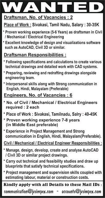 JVS ImPex Pvt Ltd Hiring BE BTech Electrical  Mechanical  Civil Engineer