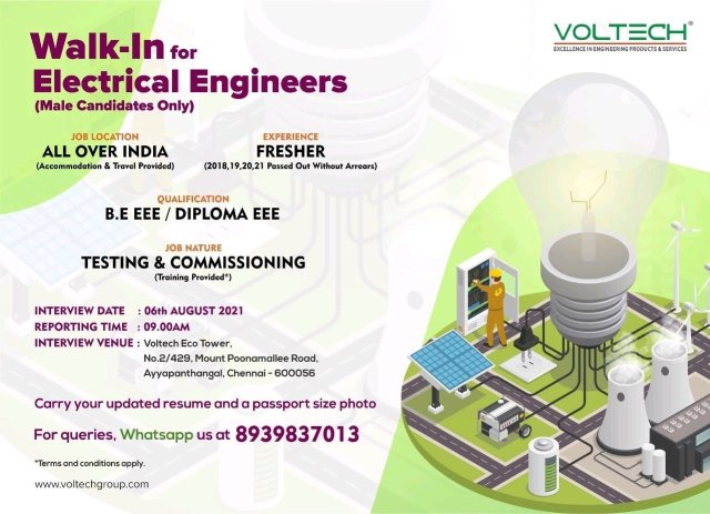 Walk In Interview 06/08/2021|VolTech Group Hiring|Frehser BE BTech|Diploma |Electrical| Electronic Engineer