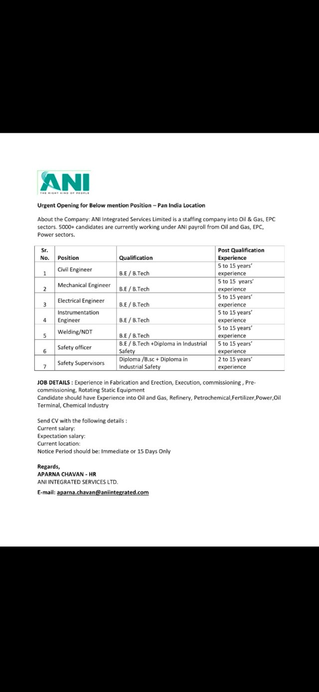 ANI Intergrated Service Pvt Ltd Hiring|BE BTech|Diploma|Electrical| Mechanical|Civil Engineers