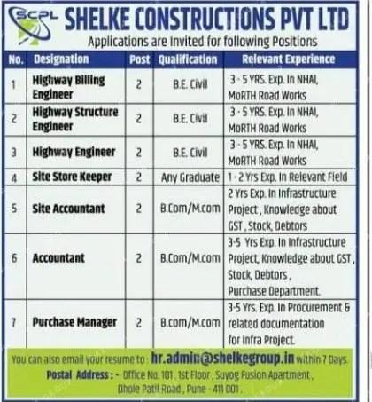 Shelke Construction Pvt Ltd Hiring| BE BTech| Civil Engineers