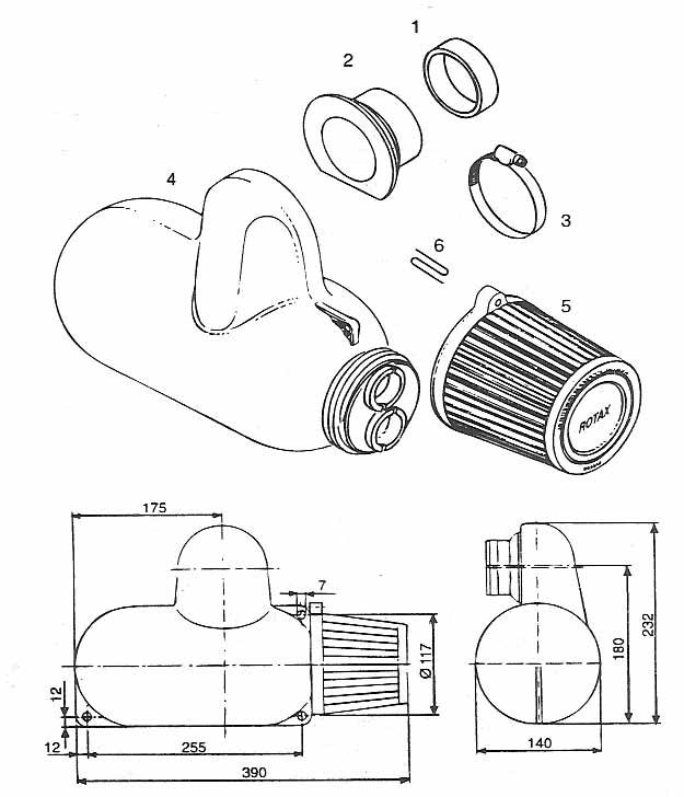 Rotax air intake silencer, Rotax 377, 447, 503 single BING