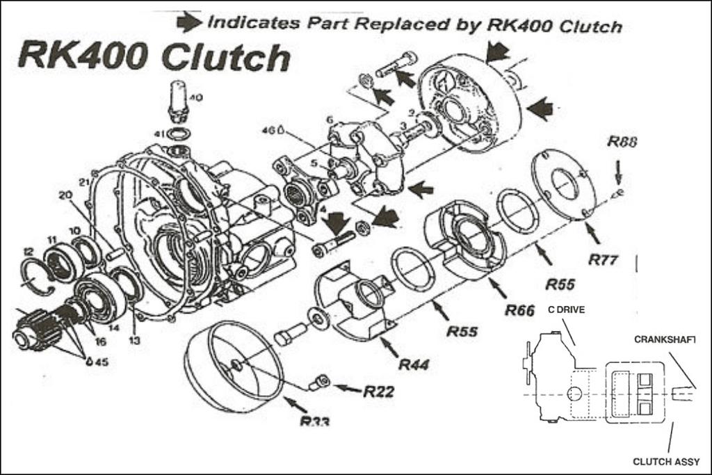 Rotax C Drive clutch, RK 400 clutch, Rotax C drive