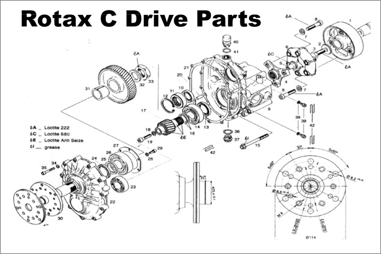 Rotax C Gear Drive Box Parts Diagram, and Parts Number Listing