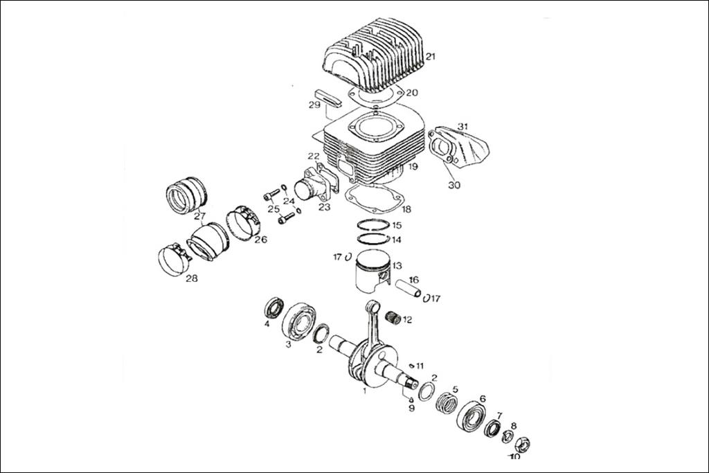 Rotax 277 crankshaft, cylinder, and intake manifold.
