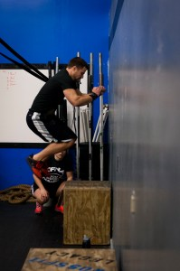 A box jump being perfectly executed