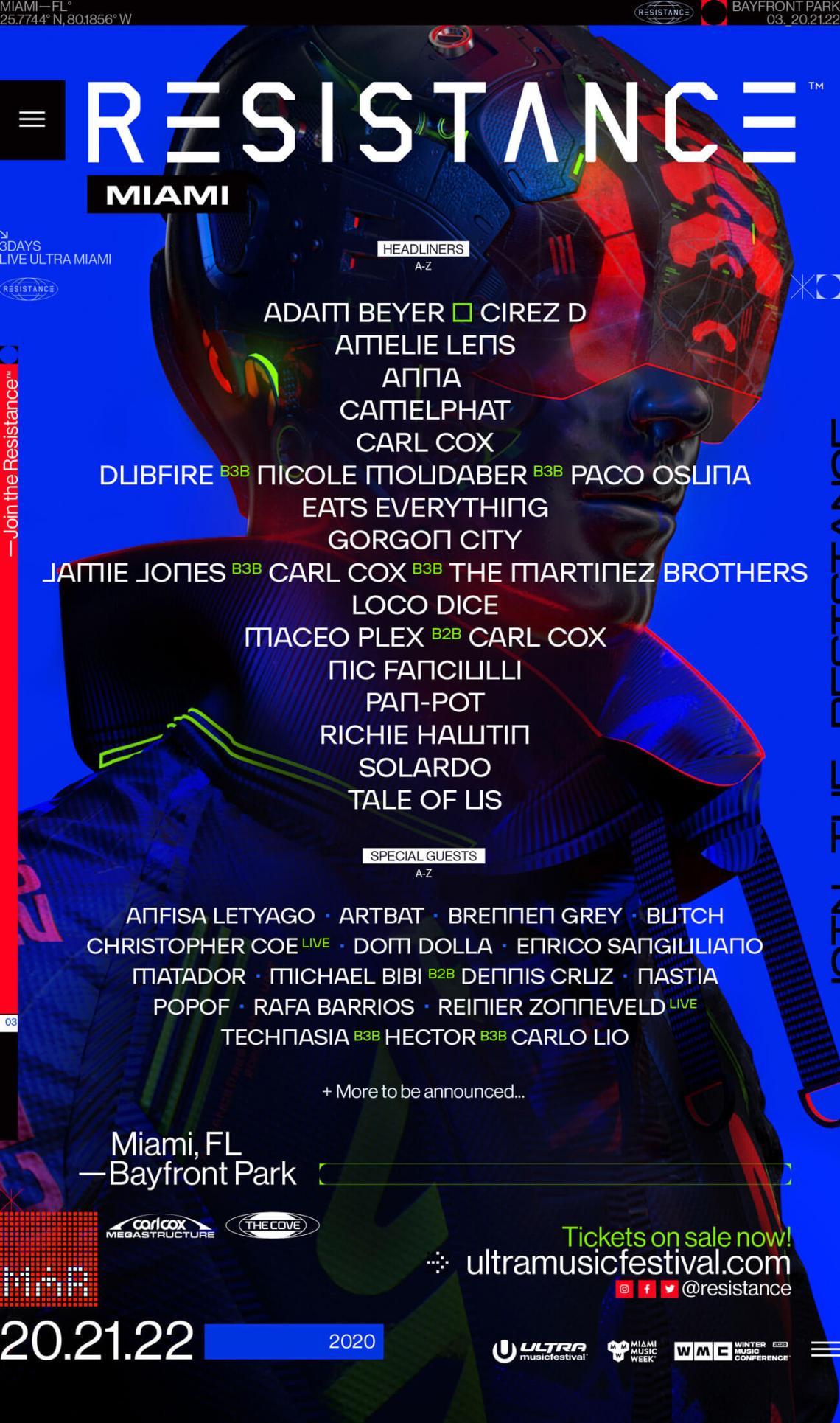 UMF ULTRA MUSIC FESTIVAL 2020 LINE UP