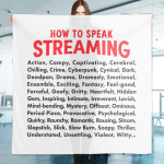 """Scarf that says """"How to speak Streaming."""" Followed by a list of 50 Netflix vocabulary words."""