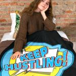 "Throw Blanket that says ""Keep Hustling."""