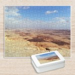 Puzzle. Photo of Makhtesh Ramon (Ramon Crater) located beside the town of Mitzpe Ramon in Israel's Negev desert. The crater is Israel's largest national park, the Ramon Nature Reserve.