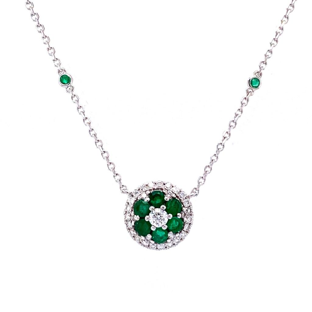 Emerald Flower Pendant