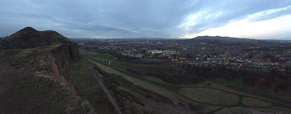 Dawn views of Edinburgh from Arthurs Seat