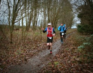 Giles running in early miles of Peddars Way Ultra 2016
