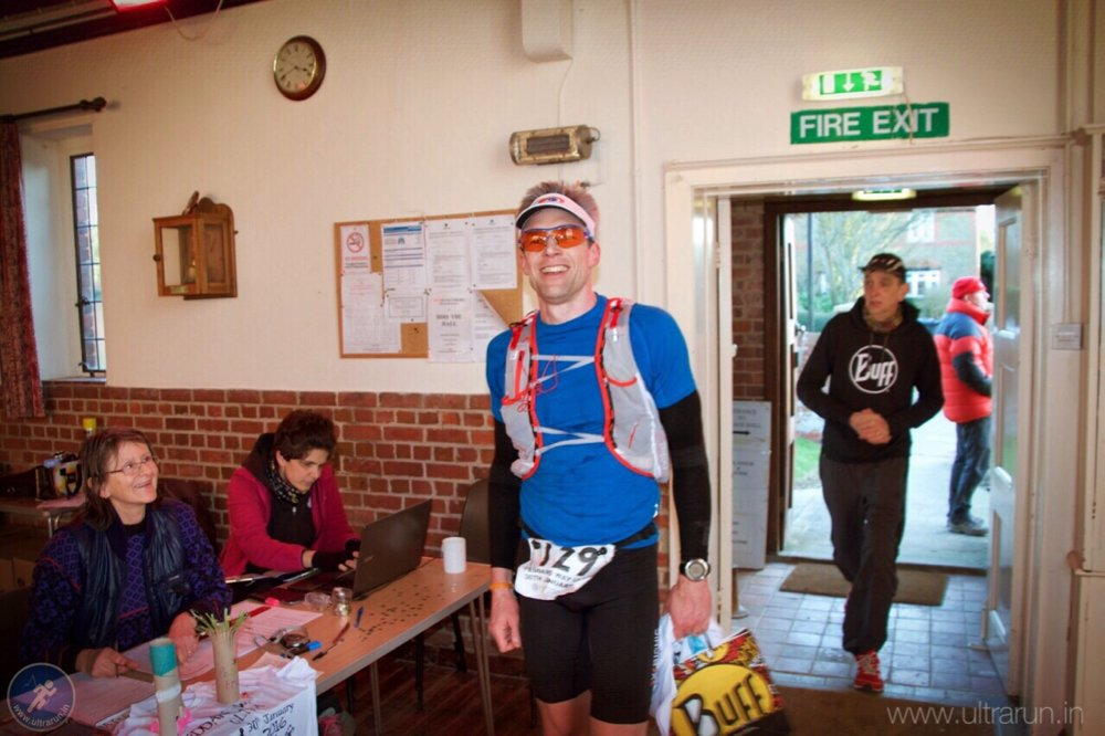 Giles at The Finish of The Peddars Way Ultra 2016