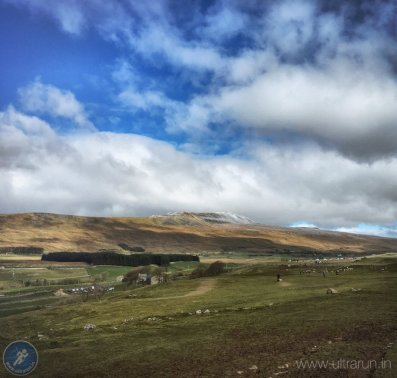 Approaching Hill Inn (CP2) with Whernside (CP3) beyond