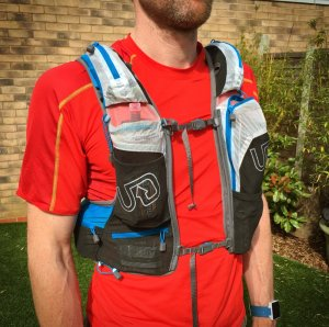 Front pocket configuration on the Ultimate Direction PB Adventure Vest 3.0