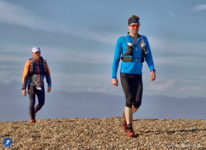 Jon and Giles arriving at the end of the shingle bank, blissfully short this time around