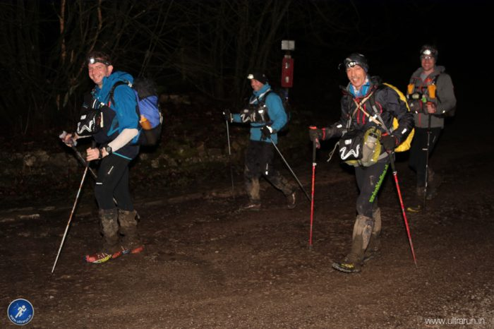 A tired but confident group leaving checkpoint 1.5 at Malham Tarn