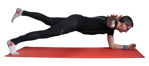 Core exercise: Plank with arm and leg raise