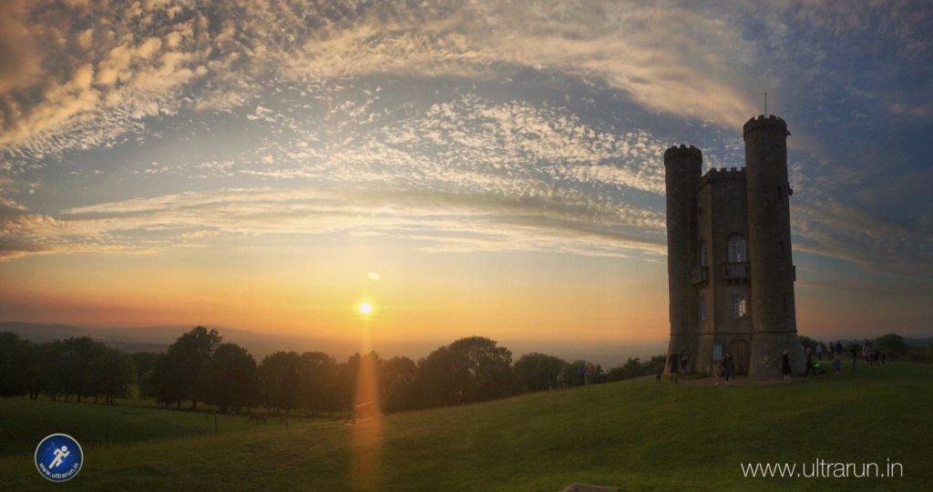 Sunset over Broadway Tower and The Race Finish