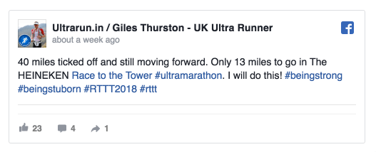 Feeling more positive, passing through forty miles on RTTT 2018